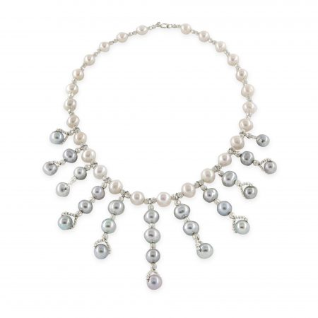 Freshwater White Pearl Necklace with 11 Drops of Grey Pearls