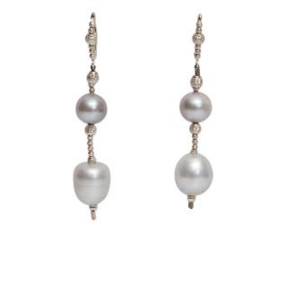 Frewshwater Grey Pearl Drop Earrings
