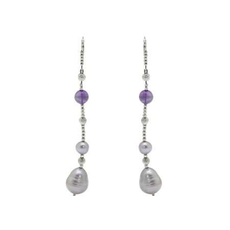 Amethyst and Grey Freshwater Pearl Earrings