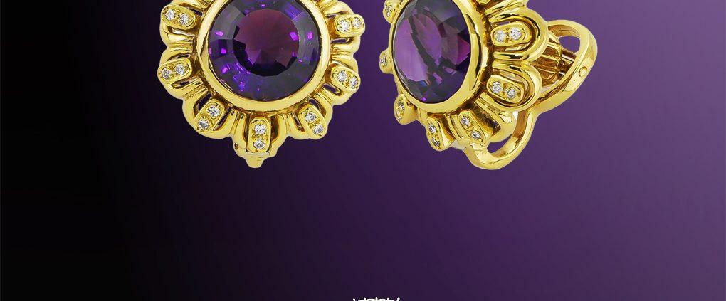 Bezel Set Amethyst and Diamond Earrings