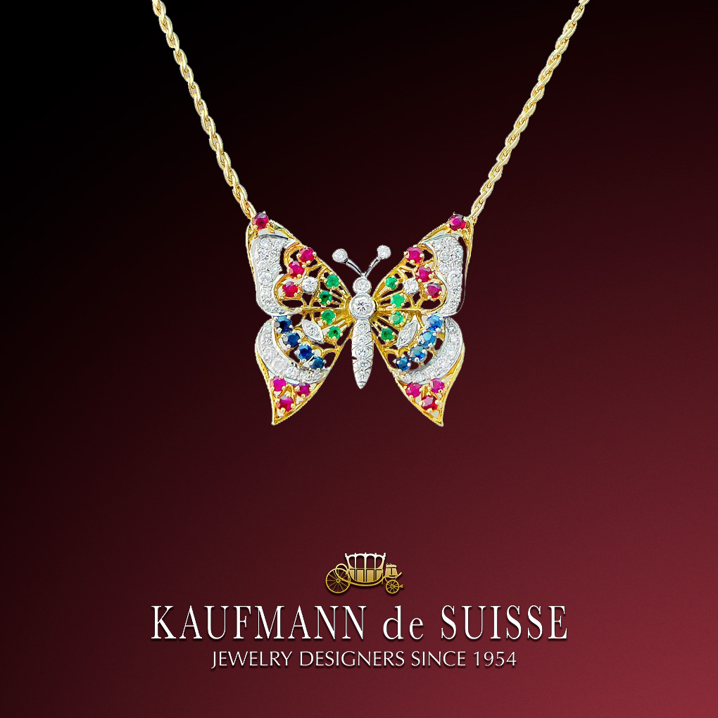 Ruby, Sapphire, Emerald and Diamond Butterfly Necklace