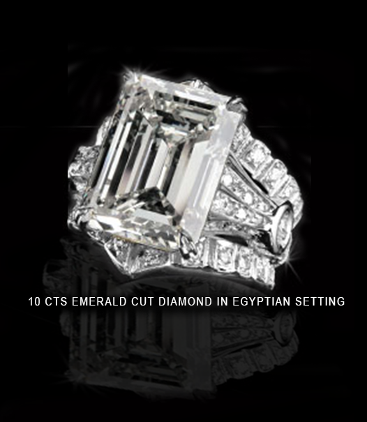 10 carats emerald cut diamond in Egyptian setting