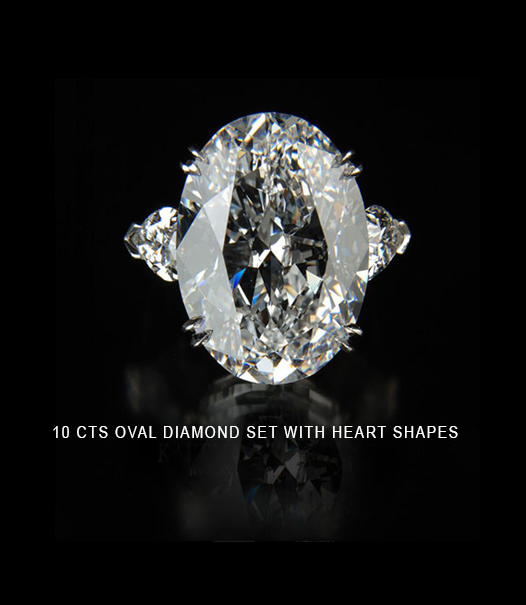 10 carats oval diamond set with heart shapes