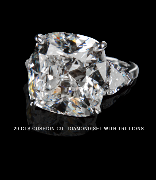 20 carats cushion cut diamond set with trillions