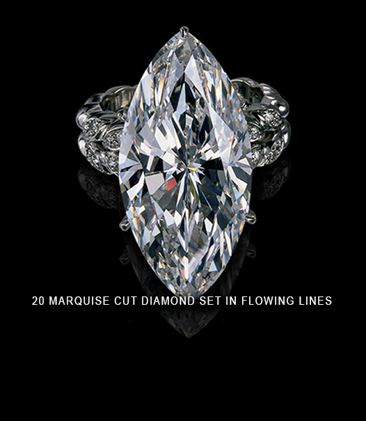 20 marquise cut diamond set in flowing lines design