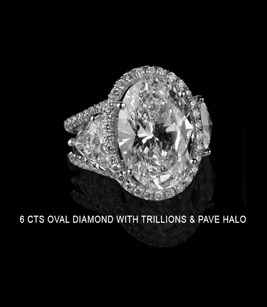 6 CTS Oval Diamond Ring with Trillions and Pave Halo