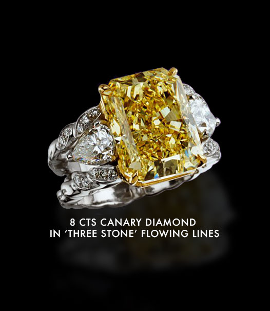 8 carats canary diamond in 'three stone' flowing lines