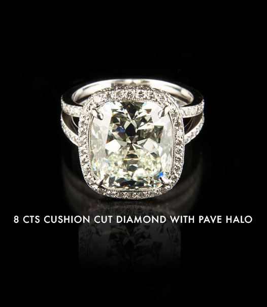 8 carats cushion cut diamond with pave halo
