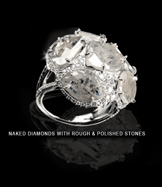 Naked diamonds with rough and polished stones