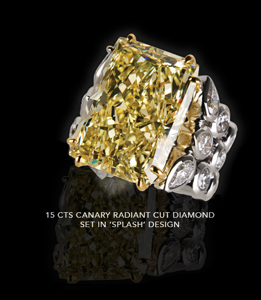15 carats canary radiant cut diamond set in Splash Design