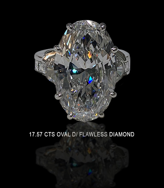 17.57 carats oval D/ flawless diamond ring