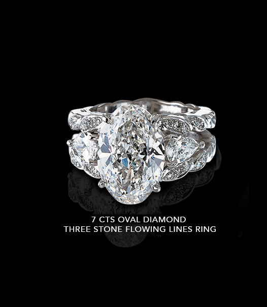7 Carats Ring with Oval Diamond Three Stone Flowing Lines