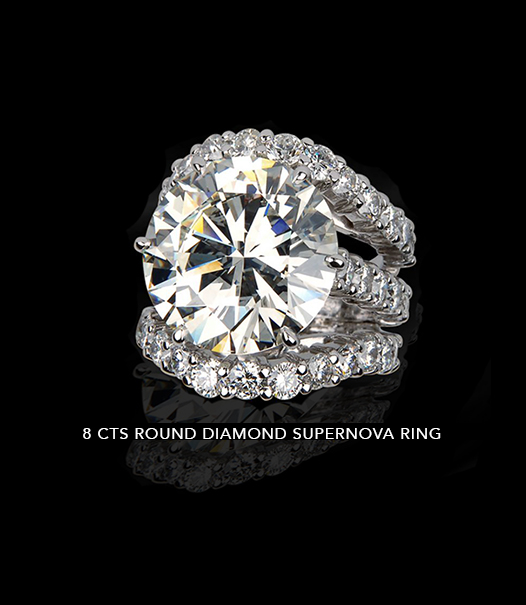 8 Carats Round Diamond Supernova Ring